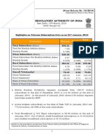 Press Release on 'Telecom Subscription Data as on 31st January, 2014'