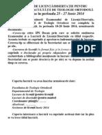 2014anunt Examen Licenta Iunie Site