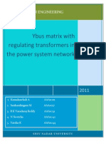 Ybus Matrix With Regulating Transformer -Self Study Topic