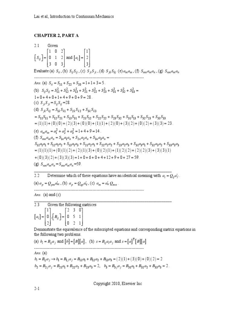 Solutions Manual Continuum Mechanics Lai 4th Edittion   Euclidean Vector    Trigonometric Functions