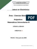 Matemáticas Universitarias III