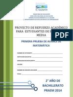 Primera Prueba de Avance de Matemtica - Segundo Ao de Bachilllerato - Praem 2014