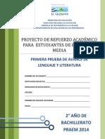 Primera Prueba de Avance de Lenguaje y Literatura - Segundo Ao de Bachilllerato - Praem 2014
