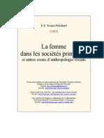 EE. Evans Pritchard, La Femme Dans Les Sociétés Primitives