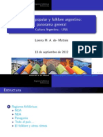 Cultura Popular y Folklorica Argentina Panorama General