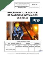 Procedimiento de Montaje de Bandejas e Instalación de Cables