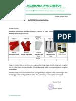 Surat Penawaran Welding Glove CV. Muaramas Jaya
