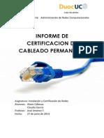 Informe de Certificacion de Cableado Permanente