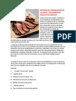 Métodos de Conservación de La Carne y Los Diferentes Productos Cárnicos