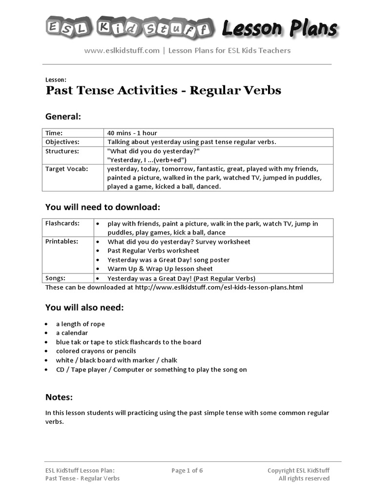 Past Tense Regular Verbs Lesson Plan Lesson Plan – Regular Past Tense Worksheets