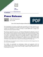 USD 50mn Sri Lanka Development Bonds Oversubscribed by 4.8 Times