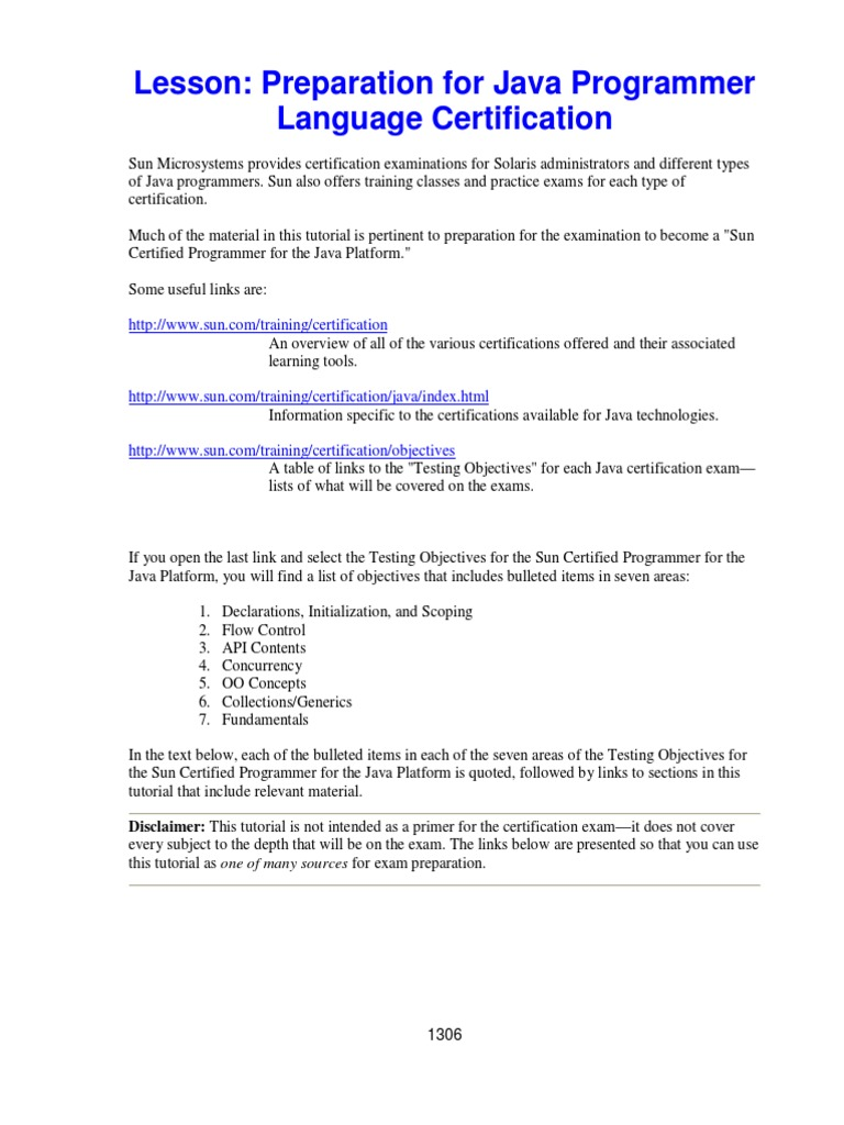 Preparation For Java Programmer Language Certification Method