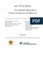 Insider Threat Study - Computer System Sabotage in Critical Infrastructure Sectors