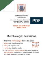 Batteriologia - Introduzione e Breve Storia Della Microbiol.