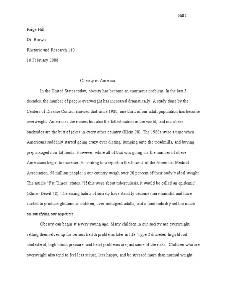 Obesity: Rough Draft - Researched Argumentative Essay
