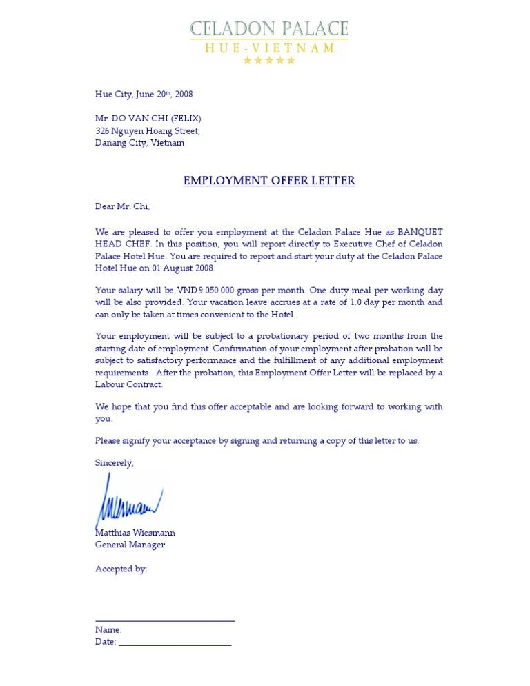 Employee Offer Letter Celadon Bandquet Head Chef Do Van Chi
