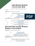Ryan Reynolds Lean Workout