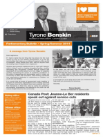 Spring/summer 2014 parliamentary bulletin - English version - Tyrone Benskin