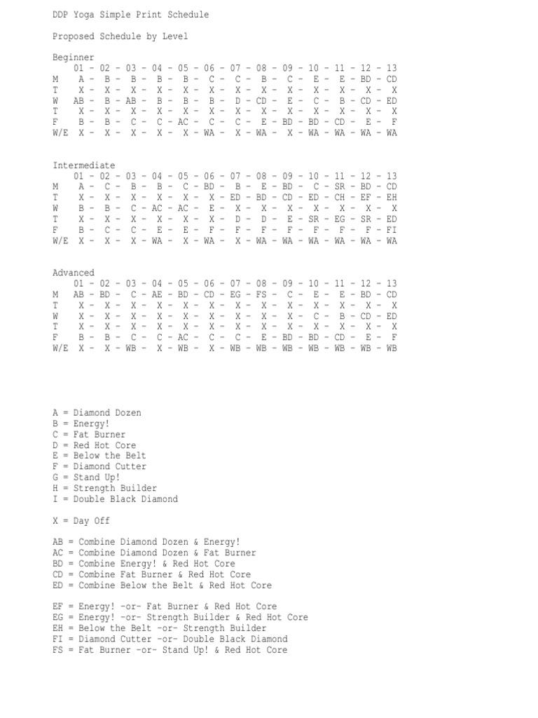 photograph regarding Ddp Yoga Schedule Printable identify DDP Yoga Basic Print Routine