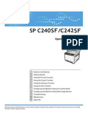 Ricoh SP C240SF/C242SF User Guide | Image Scanner | Fax
