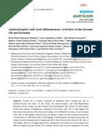 306] 2014 Henriques Monteiro - Antinociceptive and Anti Inflammatory Activities Sesame Oil Sesamin