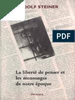 Steiner Rudolf - La Liberté de Penser Et Les Mensonges de Notre Époque