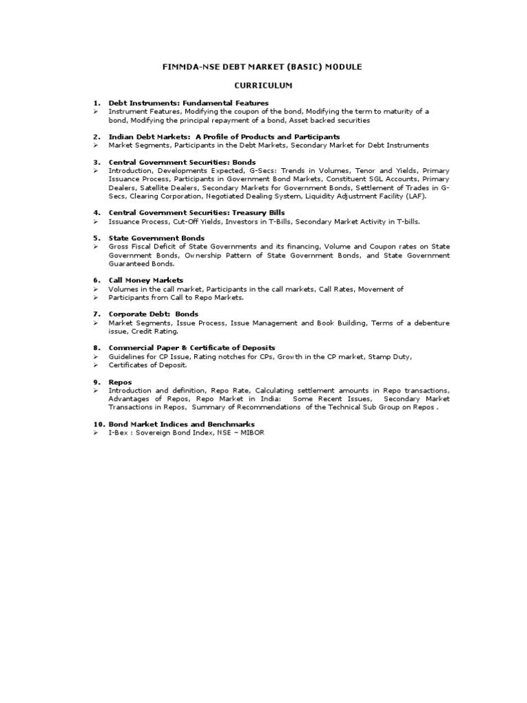 fimmda-nse debt market (basic) module curriculum | bonds (finance