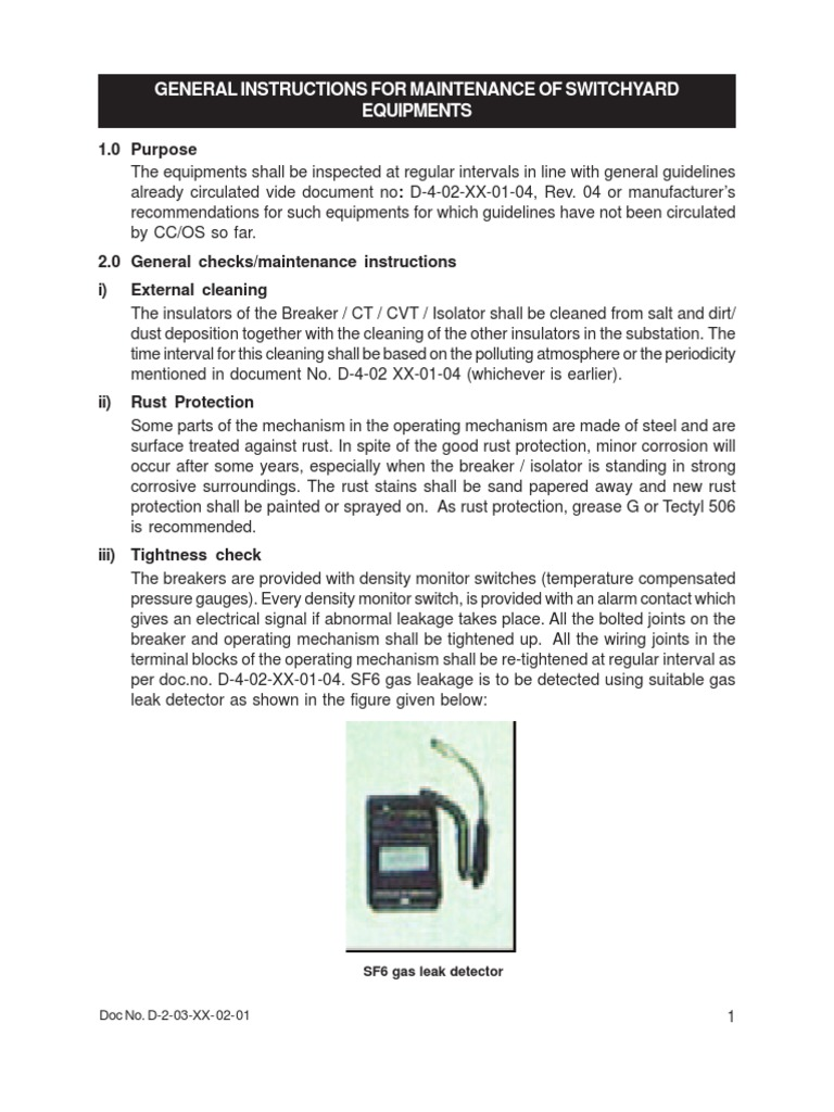 Maintenance Procedure for Switchyard Equipment Volume-II (EH | Capacitor |  Transformer