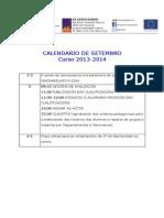 Calendario de Setembro 2014