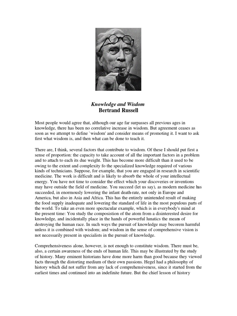 Bertrand Russell Knowledge And Wisdom Wisdom Knowledge