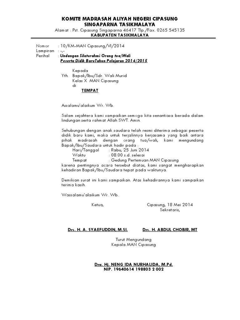 Surat Undangan Rapat Orang Tuawali Siswa Baru