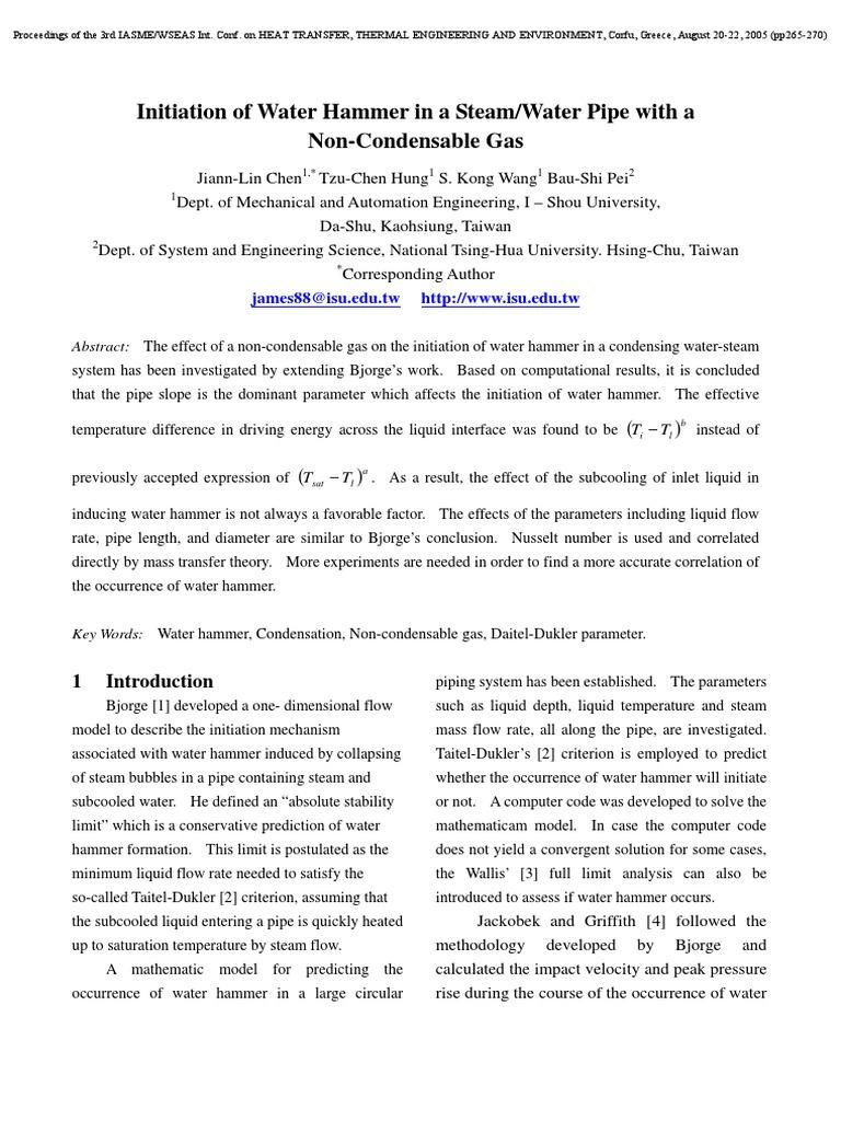 Steam hammer- Theory   Heat Transfer   Boundary Layer