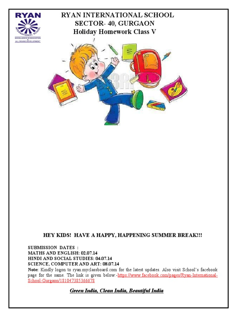 ryan international school sohna road winter holiday homework
