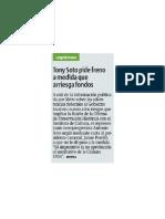 Tony Soto pide freno a medida que arriesga fondos