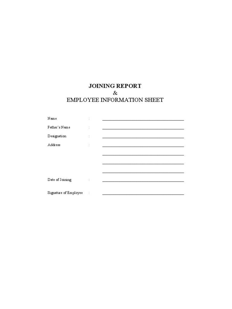 Joining report cum employment form employment salary thecheapjerseys Images