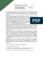 Examen de español final 5°
