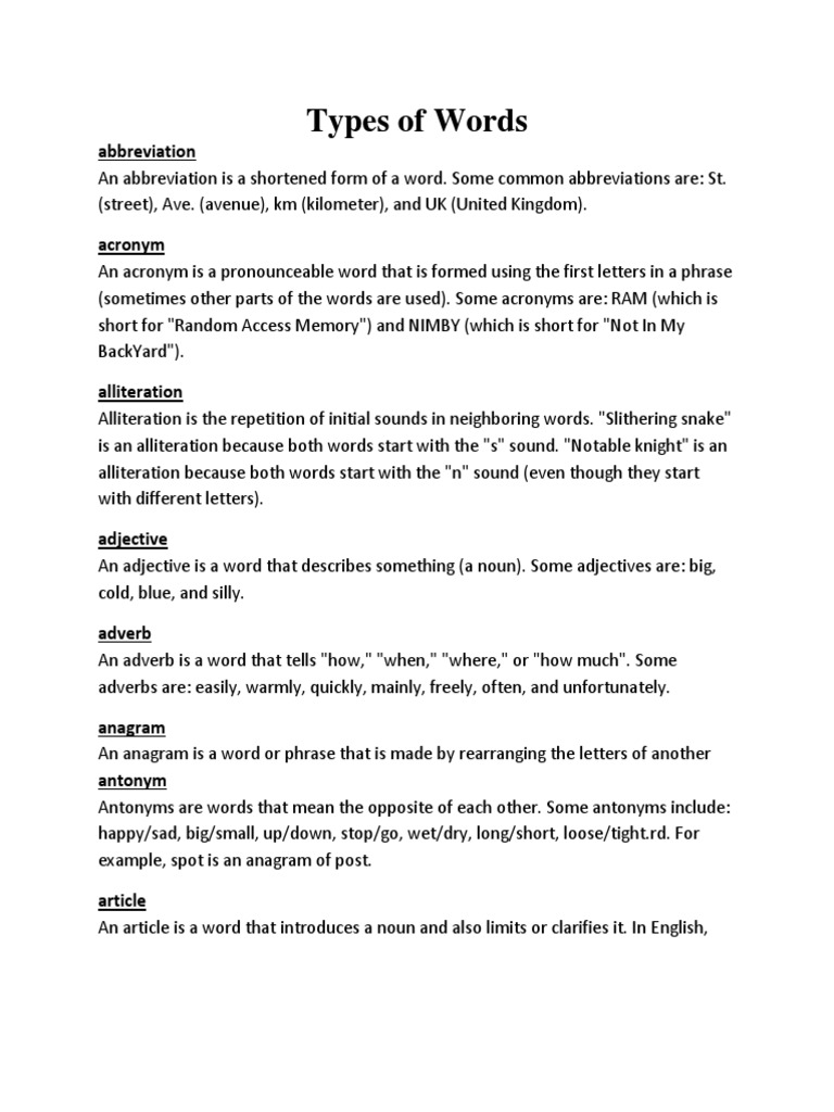 types of words punctuation sentence linguistics
