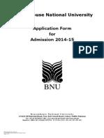 Admission Form BNU