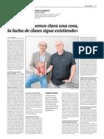Entrevista a Eugenio Etxebeste y Joxerra Bustillo en el diario Gara