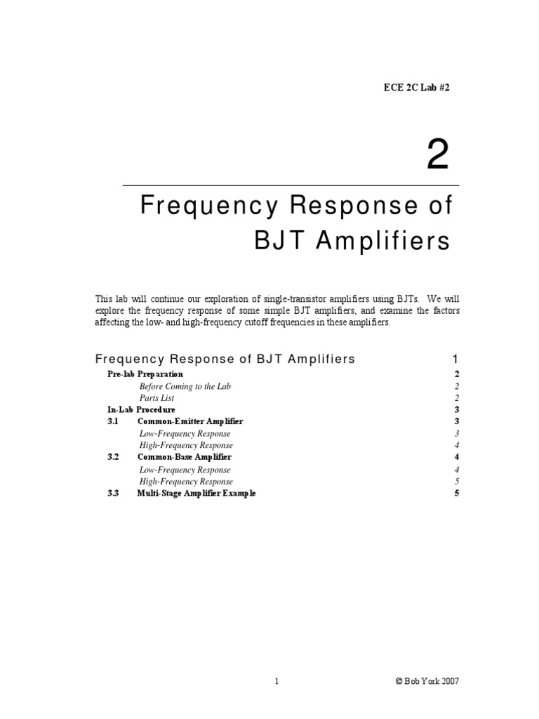 Frequency Response Bjt Amplifier Bipolar Junction Transistor Fig 2n3904 Design Example The Was