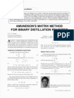 Amundson's Matrix Method for Binary Distillation Revisited