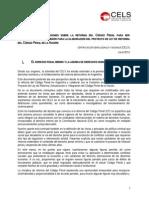 CELS Propuestas y observaciones sobre la reforma del Código Penal