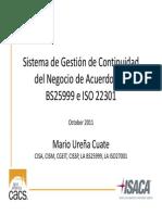 Diseño de Gestion de Continuidad de Negocio de Acuerdo Con Bs25999 e Iso 22301