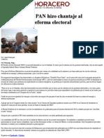 22-06-14 Afirman que el PAN hizo chantaje al proponer una reforma electoral
