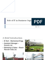 Role of IT in Business Organizations
