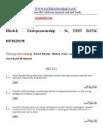Entrepreneurship by Robert Hisrich, Michael Peters and Dean Shepherd - 9e, TEST BANK 0078029198