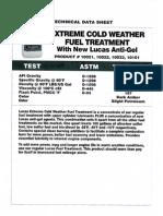 Lucas Cold Weather fuel treatment