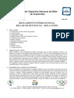 Reglamento Internacional Billar de Buchacas - Bola 8 - Asobigua - Enero 2009 - RP-1-09
