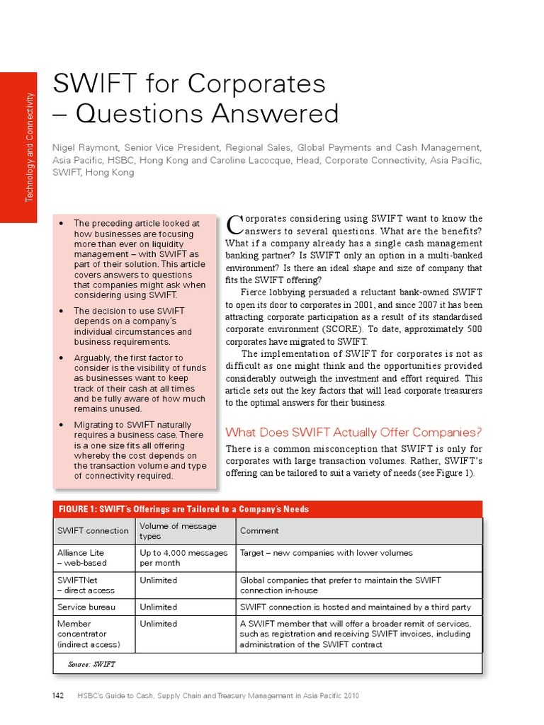 Hsbc Swift for Corporates Questions Answered   Enterprise Resource