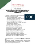 COMUNICADO, Comité Electoral Nacional - 03 COEN PNP